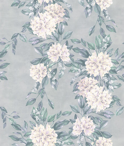 Rhodora Wallpaper in White/Teal from the Enchanted Gardens Collection by Osborne & Little