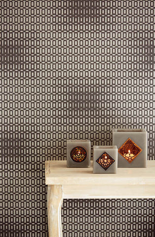 Rhona Chocolate Geometric Wallpaper from the Venue Collection by Brewster Home Fashions