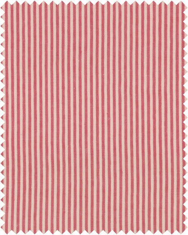 Rhubarb Stripe Heavy Linen Fabric in Red by Mind the Gap