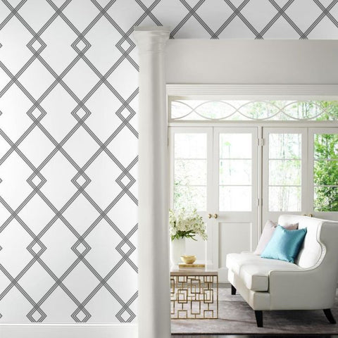 Ribbon Stripe Trellis Wallpaper in Black and White from the Conservatory Collection by York Wallcoverings