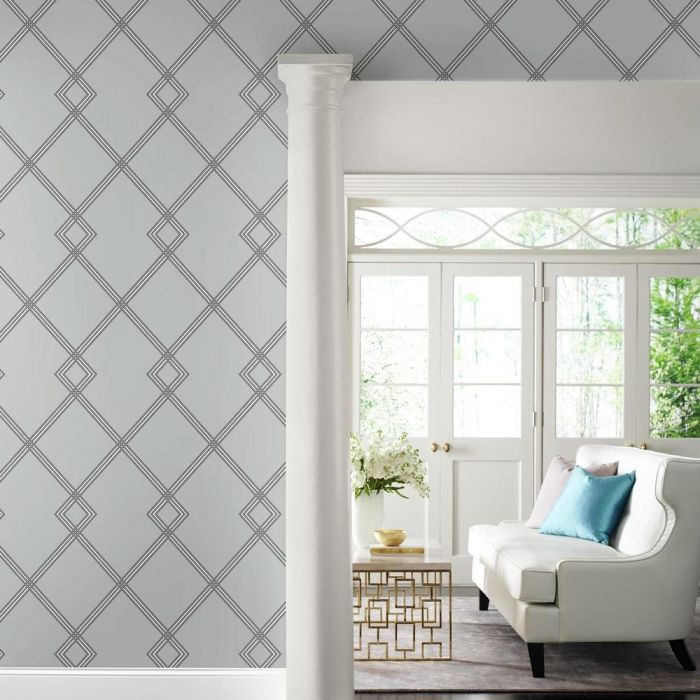 Ribbon Stripe Trellis Wallpaper in Grey and Black from the Conservatory Collection by York Wallcoverings
