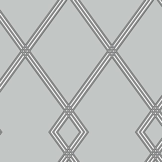 Sample Ribbon Stripe Trellis Wallpaper in Grey and Black from the Conservatory Collection by York Wallcoverings