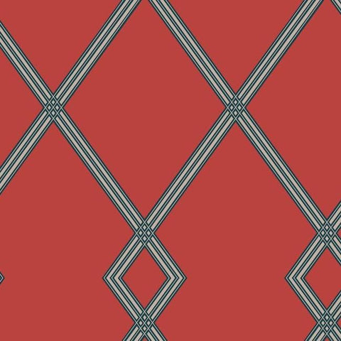 Ribbon Stripe Trellis Wallpaper in Red and Blue from the Conservatory Collection by York Wallcoverings