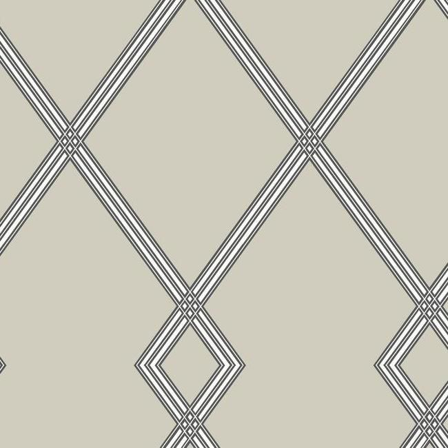 Ribbon Stripe Trellis Wallpaper in Taupe from the Conservatory Collection by York Wallcoverings