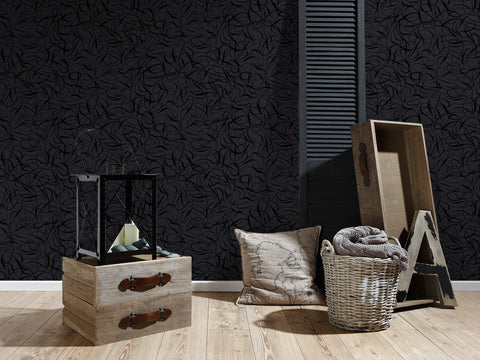 Ribbon Wallpaper in Black and Metallic design by BD Wall