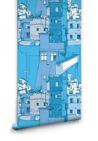 Rio Boutique Wallpaper in Blue Surf by Milton & King