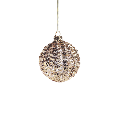 Ripple Gold Christmas Ball Ornament in Various Sizes