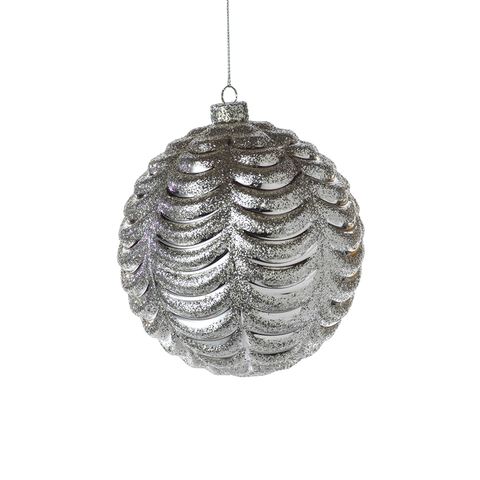 Ripple Silver Christmas Ball Ornament