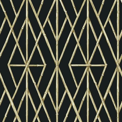 Riviera Bamboo Trellis Wallpaper in Black from the Water's Edge Collection by York Wallcoverings