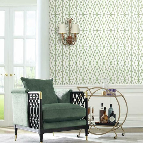 Riviera Bamboo Trellis Wallpaper in Fern from the Water's Edge Collection by York Wallcoverings