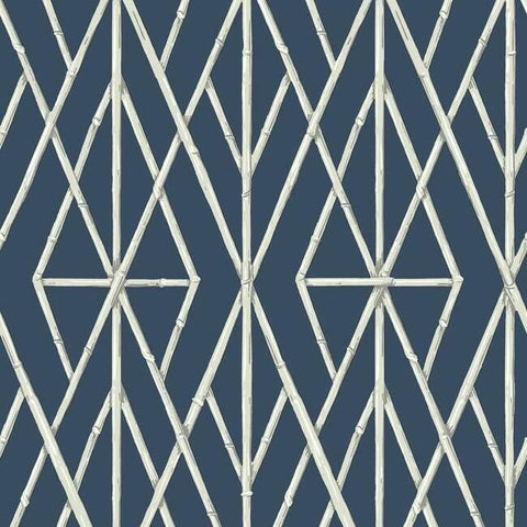Riviera Bamboo Trellis Wallpaper in Navy from the Water's Edge Collection by York Wallcoverings