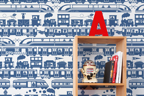 Robo Rail Wallpaper in Atlantic design by Aimee Wilder