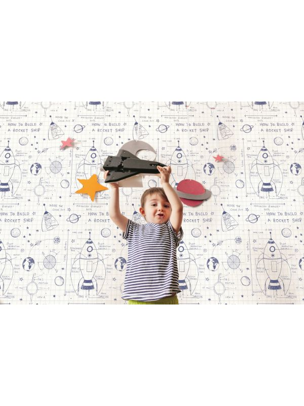 Rocket Ship Wallpaper in White and Midnight Blue from the Day Dreamers Collection by Seabrook Wallcoverings