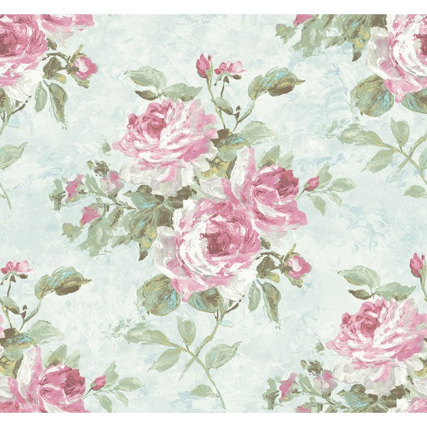 Rose Bouquet Wallpaper In Blue And Pink From The French