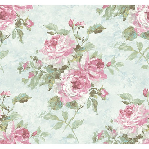Rose Bouquet Wallpaper in Blue and Pink from the French Impressionist Collection by Seabrook Wallcoverings