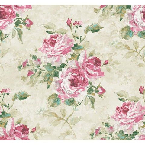 Rose Bouquet Wallpaper in Green and Pink from the French Impressionist Collection by Seabrook Wallcoverings