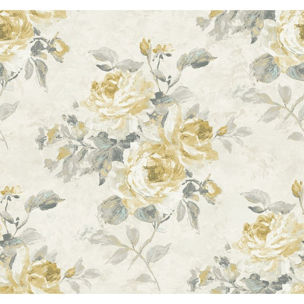 Sample Rose Bouquet Wallpaper in Grey and Gold from the French Impressionist Collection by Seabrook Wallcoverings