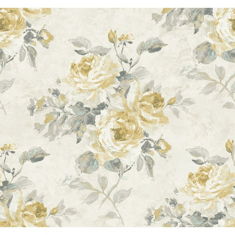 Rose Bouquet Wallpaper in Grey and Gold from the French Impressionist Collection by Seabrook Wallcoverings