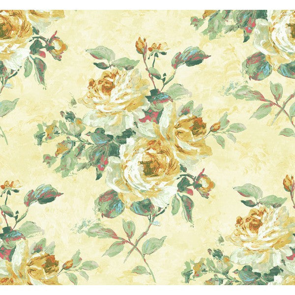 Rose Bouquet Wallpaper in Yellow and Gold from the French Impressionist Collection by Seabrook Wallcoverings