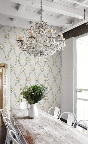 Rose Lattice Wallpaper from the Spring Garden Collection by Wallquest