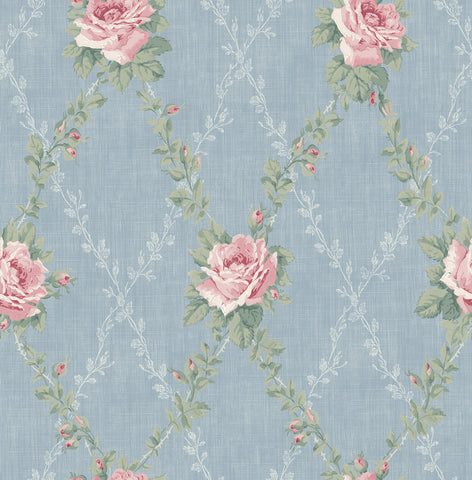 Rose Lattice Wallpaper in Denim from the Spring Garden Collection by Wallquest