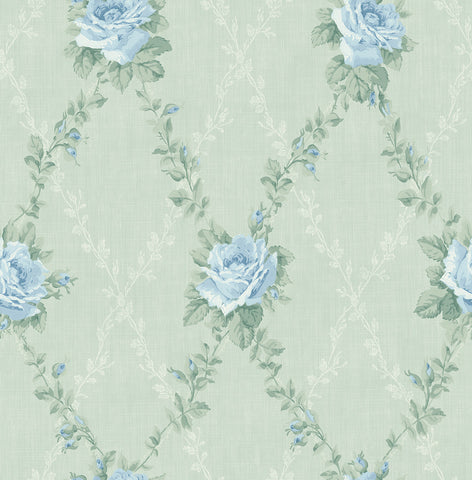 Rose Lattice Wallpaper in Grasslands from the Spring Garden Collection by Wallquest