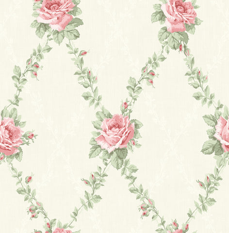 Rose Lattice Wallpaper in Rosy from the Spring Garden Collection by Wallquest
