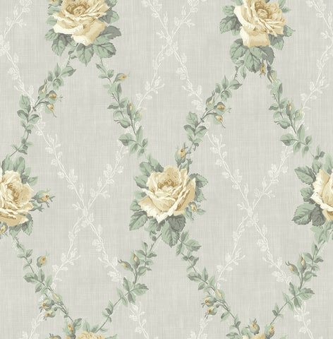 Rose Lattice Wallpaper in Sunshine from the Spring Garden Collection by Wallquest
