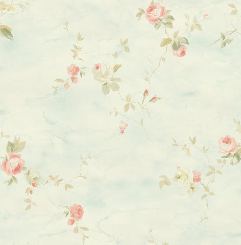 Rose Stripe Wallpaper in Blue and Blush from the Watercolor Florals Collection by Mayflower Wallpaper