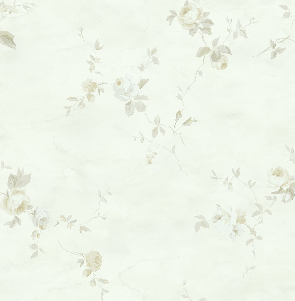 Sample Rose Stripe Wallpaper in Grey and Gunmetal from the Watercolor Florals Collection by Mayflower Wallpaper