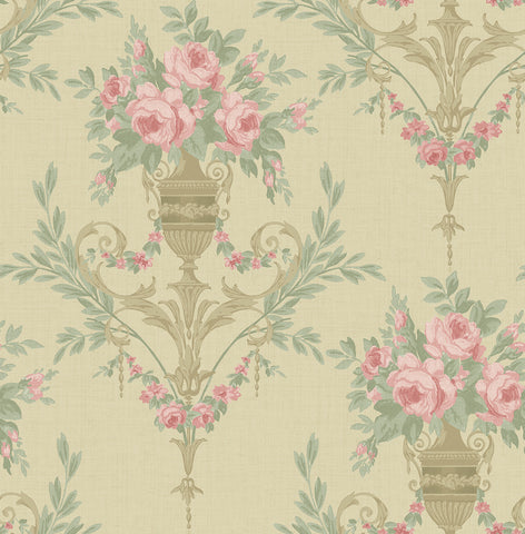 Rose Urn Wallpaper in Bronze and Beige from the Watercolor Florals Collection by Mayflower Wallpaper