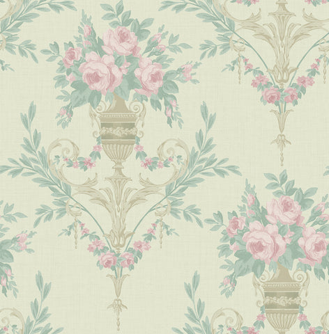 Rose Urn Wallpaper in Cream and Pink from the Watercolor Florals Collection by Mayflower Wallpaper