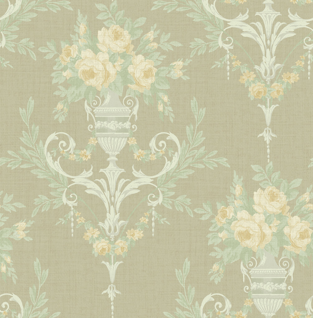 Sample Rose Urn Wallpaper in Olive from the Watercolor Florals Collection by Mayflower Wallpaper