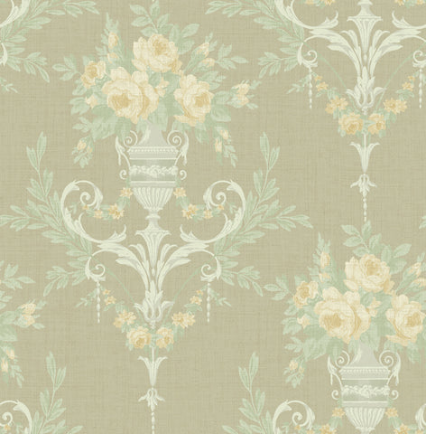 Rose Urn Wallpaper in Olive from the Watercolor Florals Collection by Mayflower Wallpaper