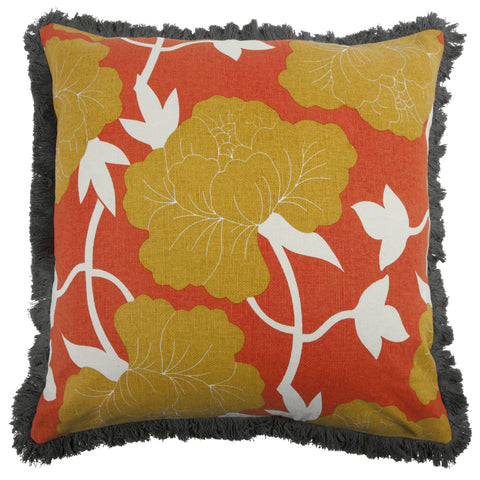 "Roses 22"" Linen/Cotton Pillow in Saffron design by Thomas Paul"