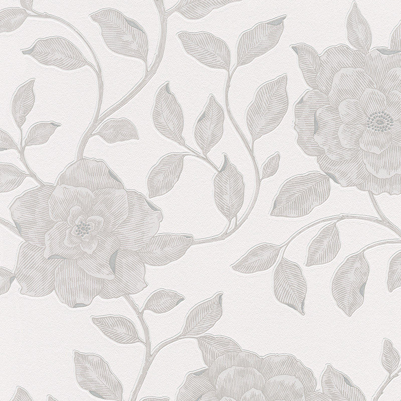 Roses Floral Wallpaper in Cream and Metallic design by BD Wall