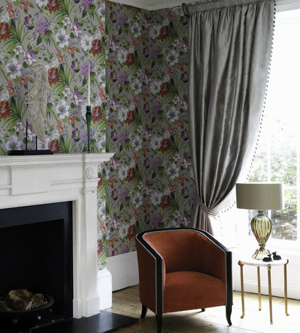 Rosslyn Wallpaper in Charcoal and Coral by Nina Campbell for Osborne & Little