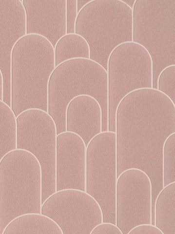 Sample Rounded Hills Wallpaper in Pink Rose by Walls Republic