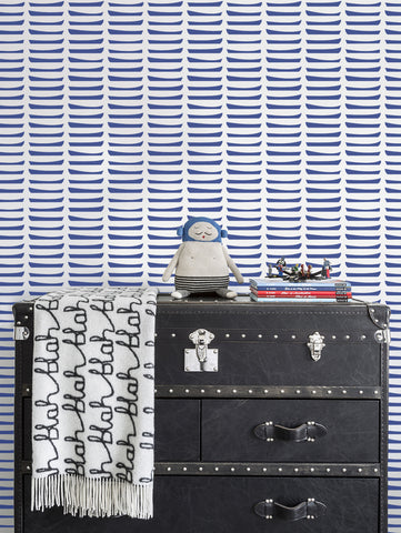 Row Wallpaper in Navy by Marley + Malek Kids