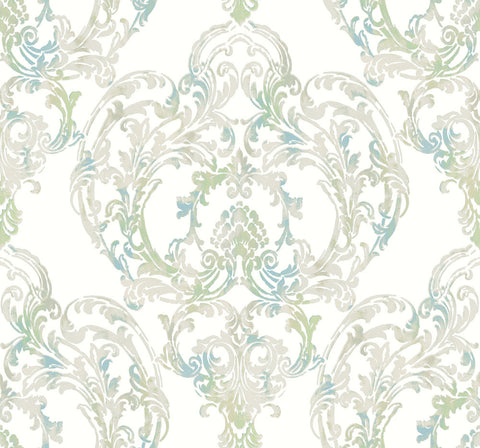 Roxen Wallpaper in Blue and Green from the Lugano Collection by Seabrook Wallcoverings