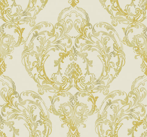 Roxen Wallpaper in Ivory and Gold from the Lugano Collection by Seabrook Wallcoverings