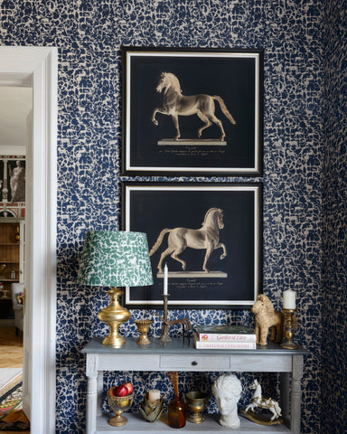 Royal Hunting Wallpaper in Blue and Grey from the Wallpaper Compendium Collection by Mind the Gap