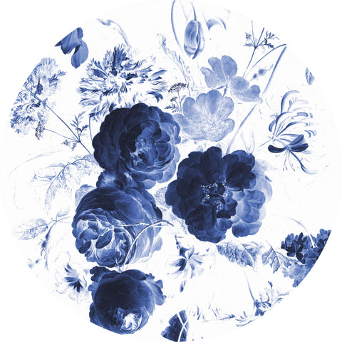 Royal Blue Flowers 001 Wallpaper Circle by KEK Amsterdam