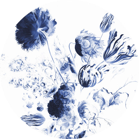 Royal Blue Flowers 002 Wallpaper Circle by KEK Amsterdam