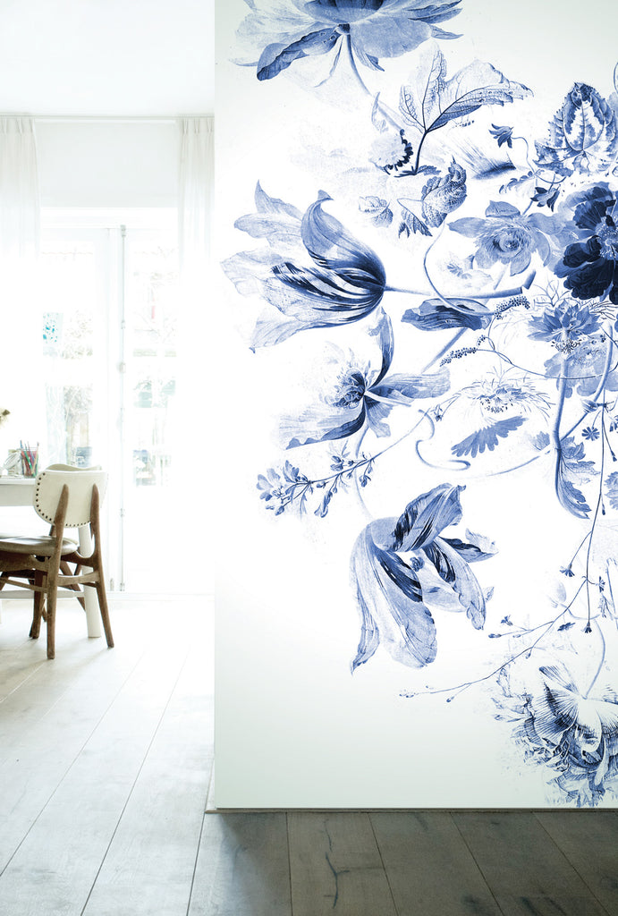 Royal Blue Flowers 209 Wall Mural by KEK Amsterdam