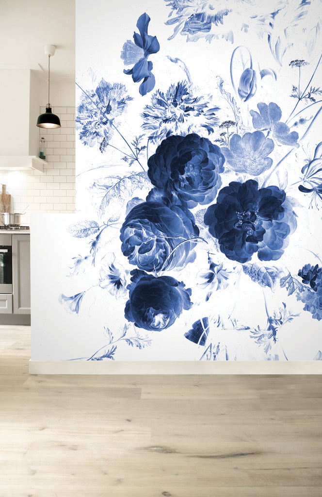 Royal Blue Flowers 217 Wall Mural by KEK Amsterdam