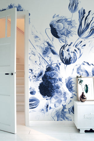 Royal Blue Flowers 218 Wall Mural by KEK Amsterdam
