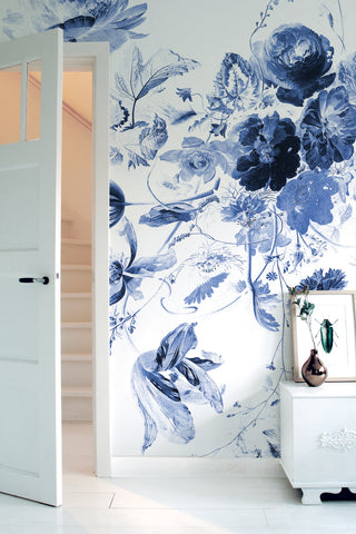 Royal Blue Flowers 219 Wall Mural by KEK Amsterdam