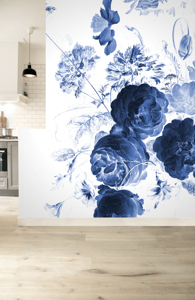 Royal Blue Flowers 223 Wall Mural by KEK Amsterdam