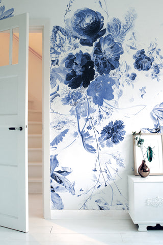 Royal Blue Flowers 225 Wall Mural by KEK Amsterdam